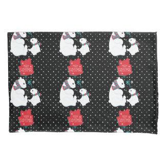 Merry Christmas Two Polar Bears Pillowcase