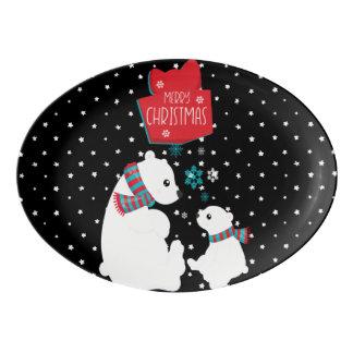 Merry Christmas Two Polar Bears Porcelain Serving Platter