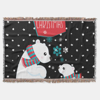 Merry Christmas Two Polar Bears Throw Blanket
