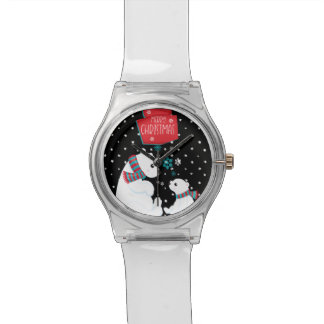 Merry Christmas Two Polar Bears Watch