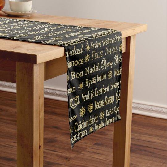 Merry Christmas Typography Black & Gold Glitter Medium Table Runner
