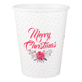 Merry Christmas Typography & Christmas Flowers Paper Cup