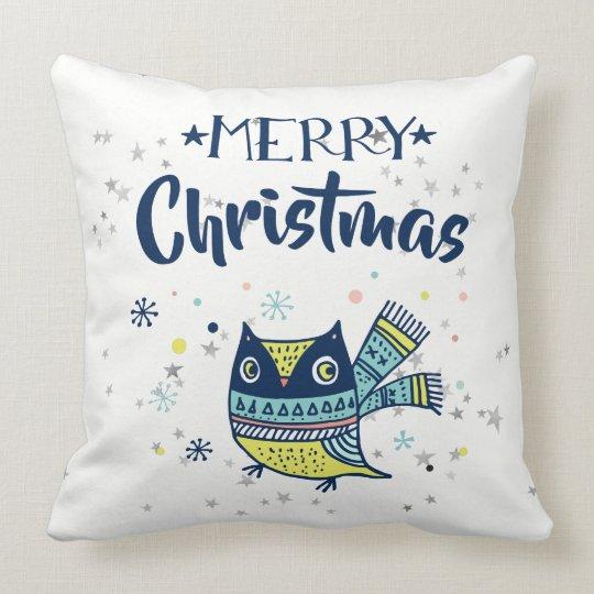 Merry Christmas Typography & Christmas Owl Cushion