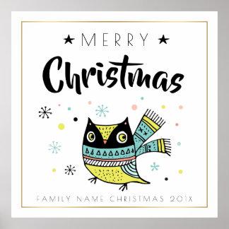 Merry Christmas Typography & Christmas Owl Poster