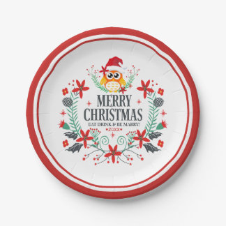 Merry Christmas Typography & Christmas Owl Wreath Paper Plate