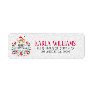 Merry Christmas Typography & Christmas Wreath Owl Return Address Label