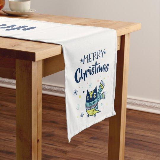 Merry Christmas Typography Cute Christmas Owl Medium Table Runner