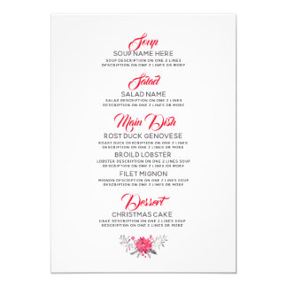Merry Christmas Typography Diner menu Template