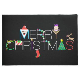Merry Christmas Typography Doormat