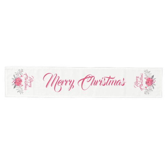 Merry Christmas Typography & Floral Bouquet Medium Table Runner