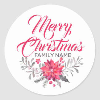 Merry Christmas Typography Flowers Bouquet Sticker