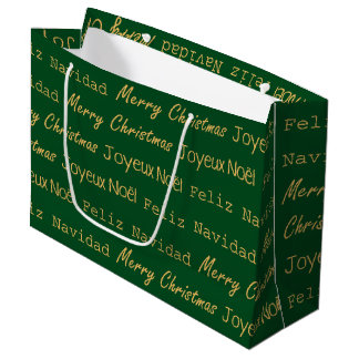 Merry Christmas Typography Noel Navidad Gold Green Large Gift Bag