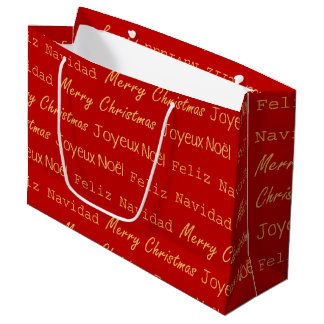 Merry Christmas Typography Noel Navidad Gold Red Large Gift Bag