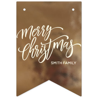 Merry Christmas Typography on Creamy Gold Texture Bunting