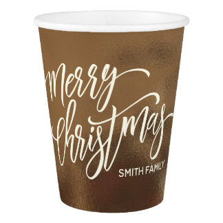 Merry Christmas Typography on Creamy Gold Texture Paper Cup