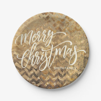 Merry Christmas Typography on Gold Chevron Texture Paper Plate