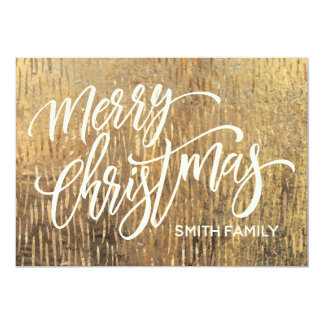 Merry Christmas Typography on Gold Rain Texture Card
