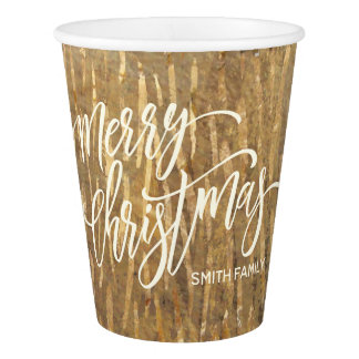 Merry Christmas Typography on Gold Rain Texture Paper Cup