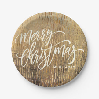 Merry Christmas Typography on Gold Rain Texture Paper Plate