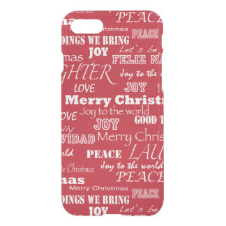 Merry Christmas Typography Pattern iPhone 7 Case