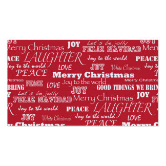 Merry Christmas Typography Pattern Pack Of Standard Business Cards