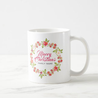 Merry Christmas Typography & Red Berries Wreath Coffee Mug