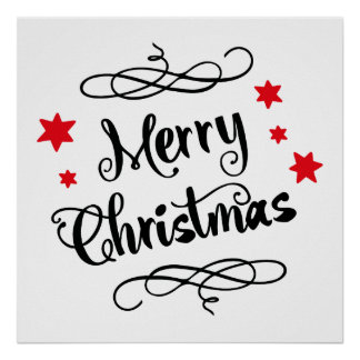 Merry Christmas Typography Red White Poster