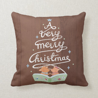 Merry Christmas Typography Reindeers Throw Pillow