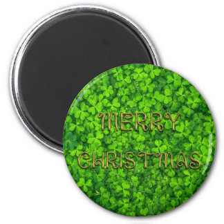 Merry Christmas Typography Shamrock Clovers 6 Cm Round Magnet