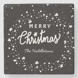 Merry Christmas Typography Whimsical Stars Stone Coaster