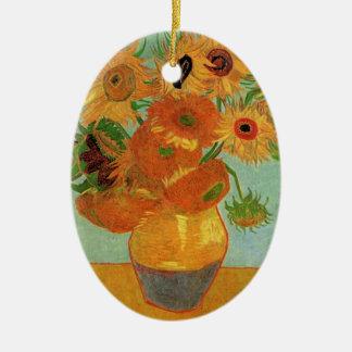 Merry  Christmas  Vase with Twelve Sunflowers Christmas Ornaments