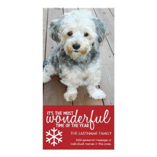 Merry Christmas - Vertical Red Photo Greeting Personalized Photo Card