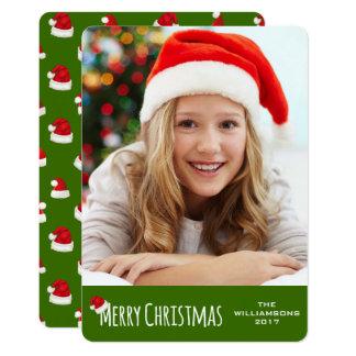 Merry Christmas Vertical Whimsical Santa Hat Card