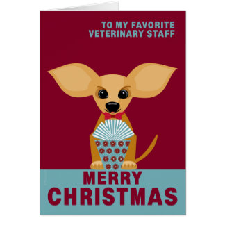 Merry Christmas Veterinary Staff Cute Chihuahua Card