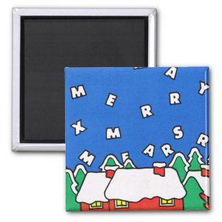 Merry Christmas Village greetings Fridge Magnets