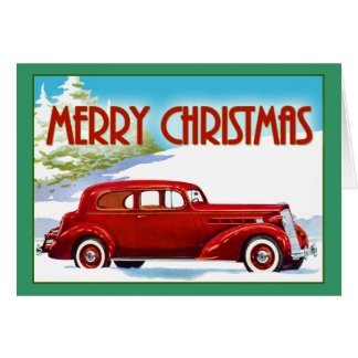 Merry Christmas - Vintage 1938 Packard Card