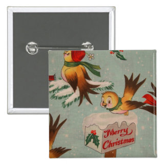 Merry Christmas Vintage Birds 15 Cm Square Badge