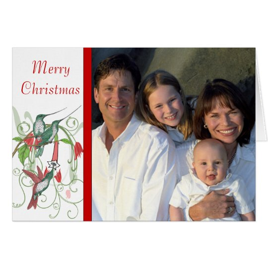 Merry Christmas Vintage Birds Your Family Photo Card
