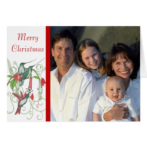 Merry Christmas Vintage Birds Your Family Photo Greeting Card