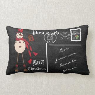 Merry Christmas Vintage Chalkboard Red Snowman Lumbar Cushion
