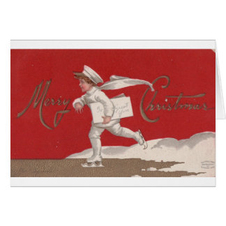 Merry Christmas Vintage Ice Skater. Greeting Card