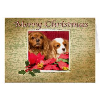 Merry Christmas Vintage King Charles Spaniels Card
