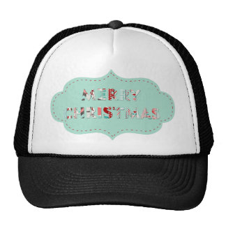 Merry Christmas Vintage Label Designs Mesh Hat