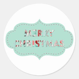 Merry Christmas Vintage Label Designs Round Sticker