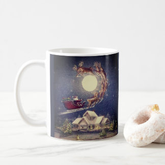 Merry Christmas vintage mug design with Santa.