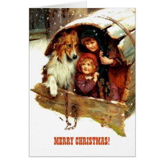 Merry Christmas.Vintage Painting Greeting Cards