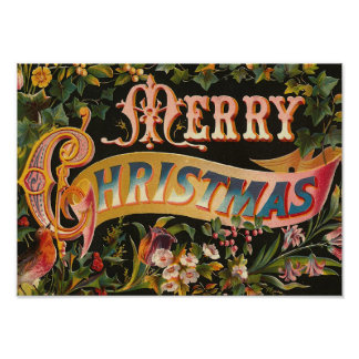 """Merry Christmas"" Vintage Poster"