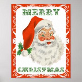 Merry Christmas Vintage Retro Santa Claus Posters