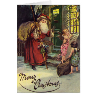 Merry Christmas, Vintage, Santa and Angels Card