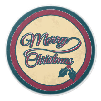 Merry Christmas Vintage Sign Ceramic Knob
